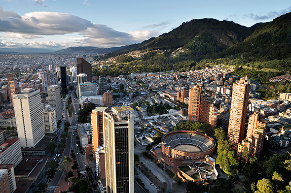 Panoramic view of Bogota, the capital of Colombia, of the Avenida Carrera Septima with the bullring Santa Maria.