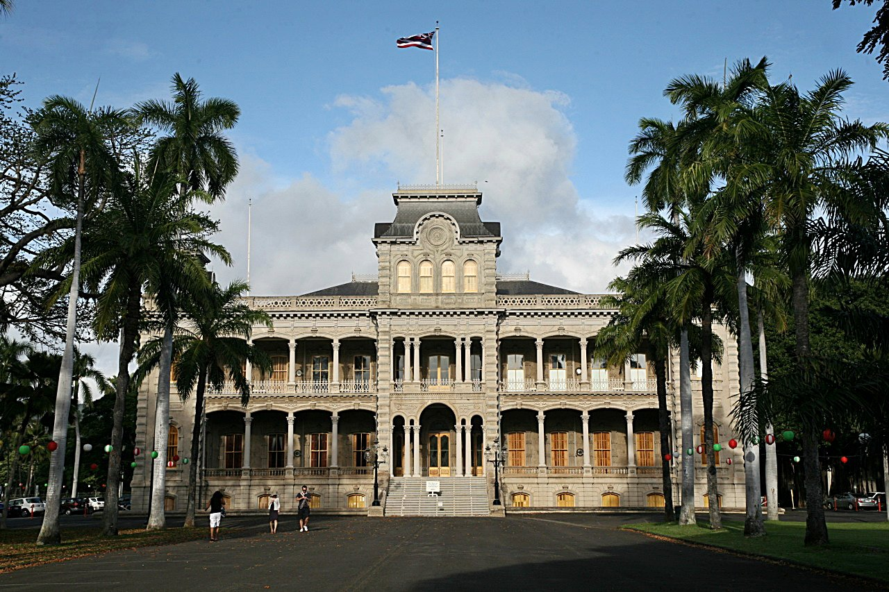 Iolani Palace view from front