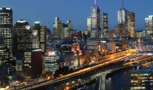 Melbourne city center in australia