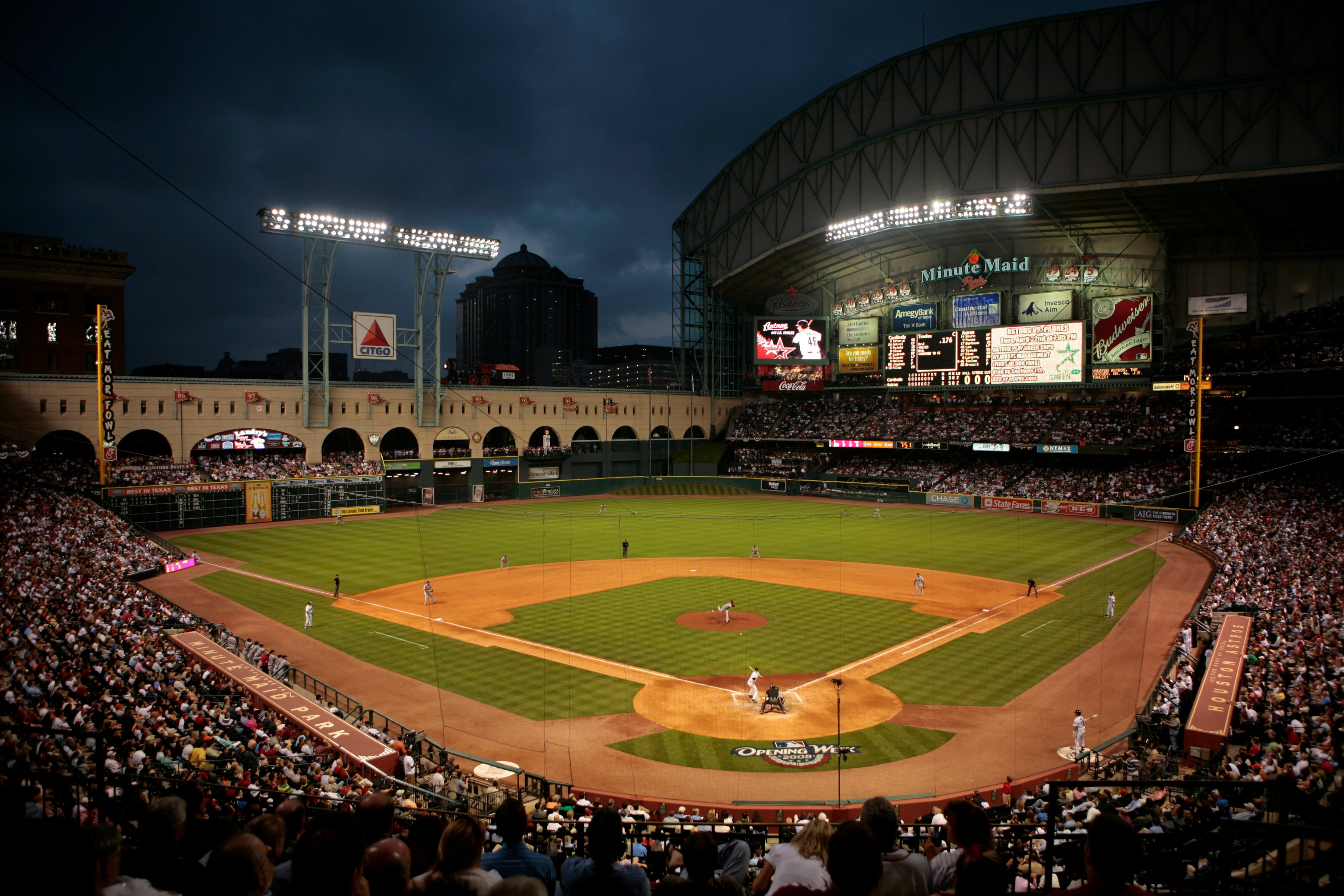 minute maid park at night