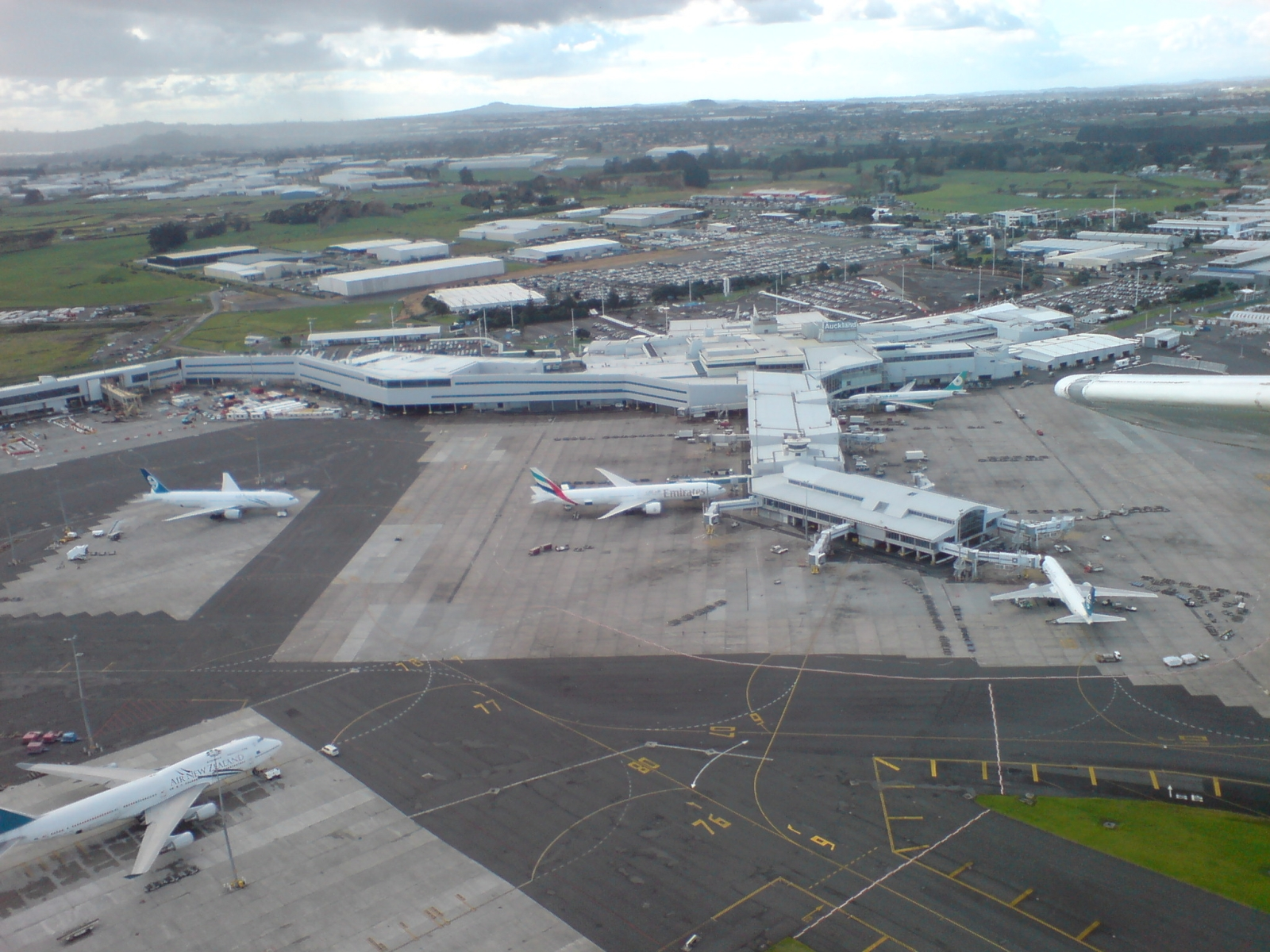 auckland airport from light plane