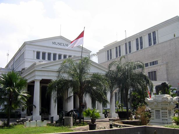 national museum of indonesia with flag of indonesia