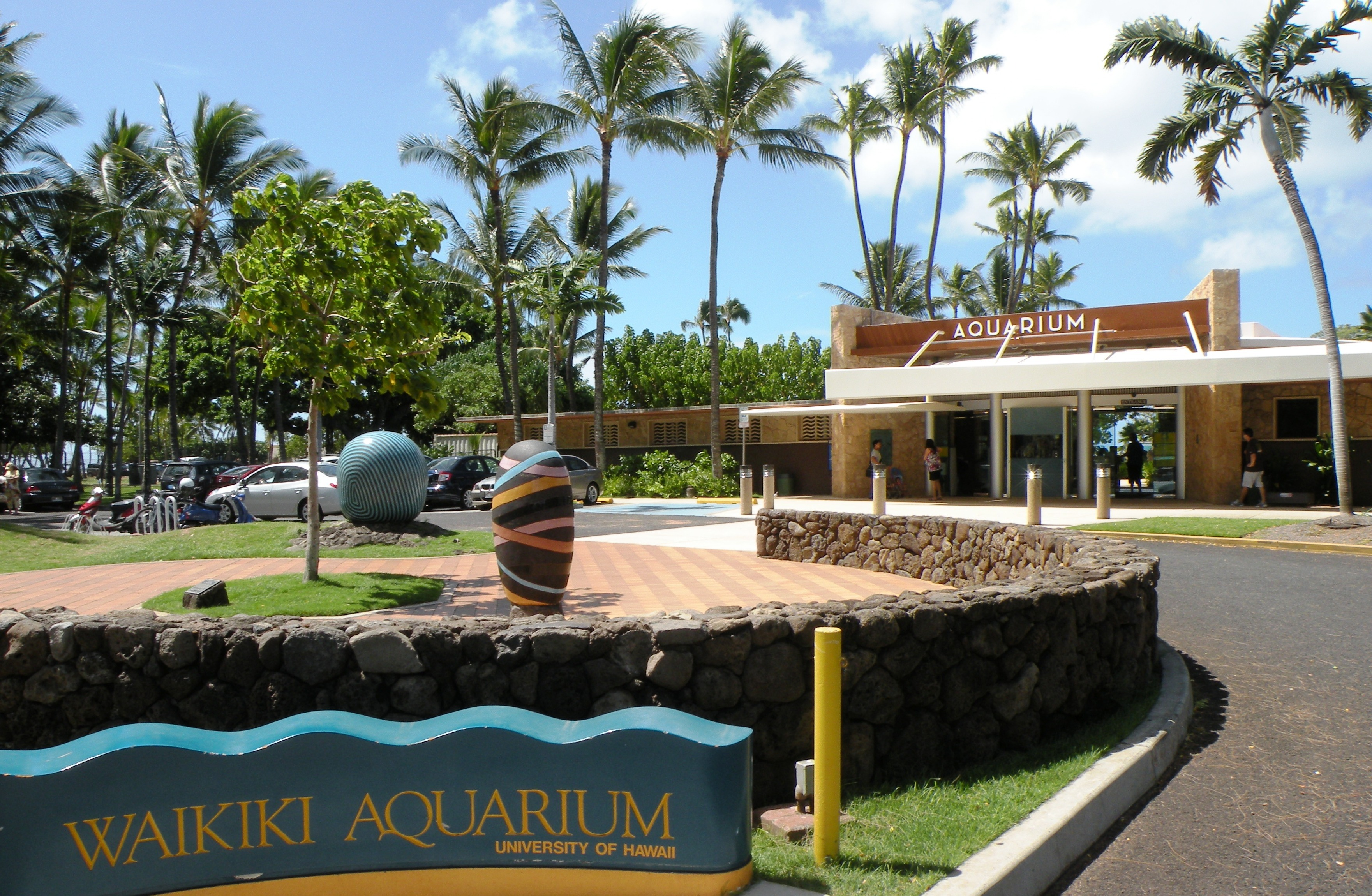 parking area outside waikiki aquarium