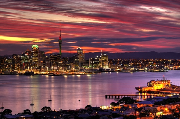 waitemata harbour at sunset