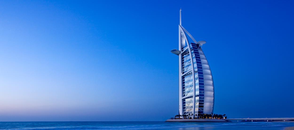 beautiful view of burj al arab from beach