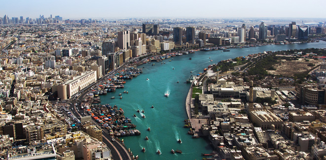 aerial view of dubai creek