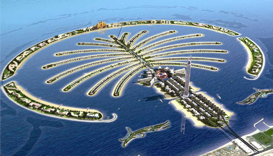 palm jumeirah aeriel view