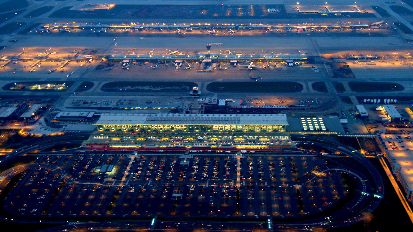 hong kong international airport at night