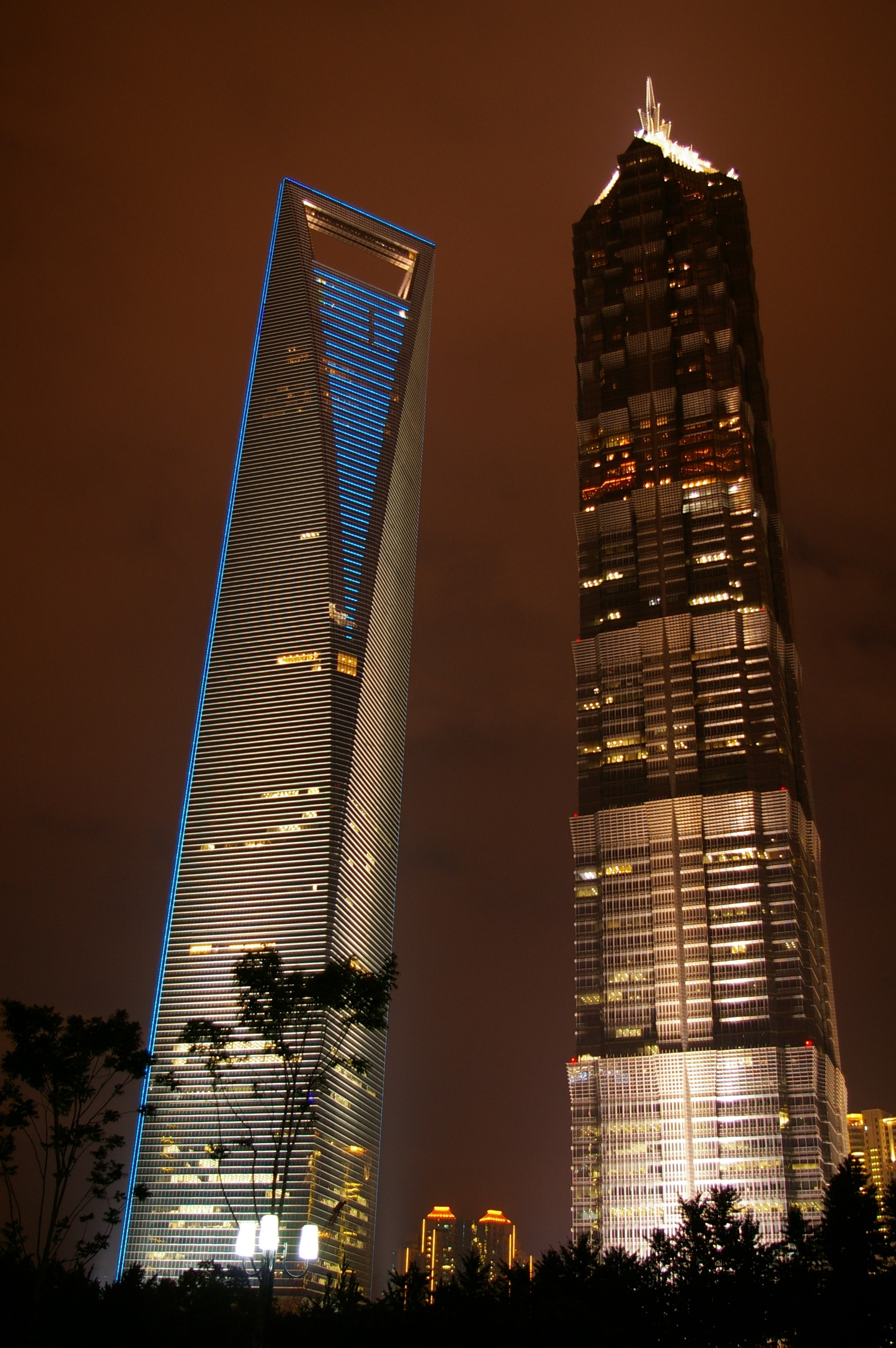 jin mao tower and world financial center at night