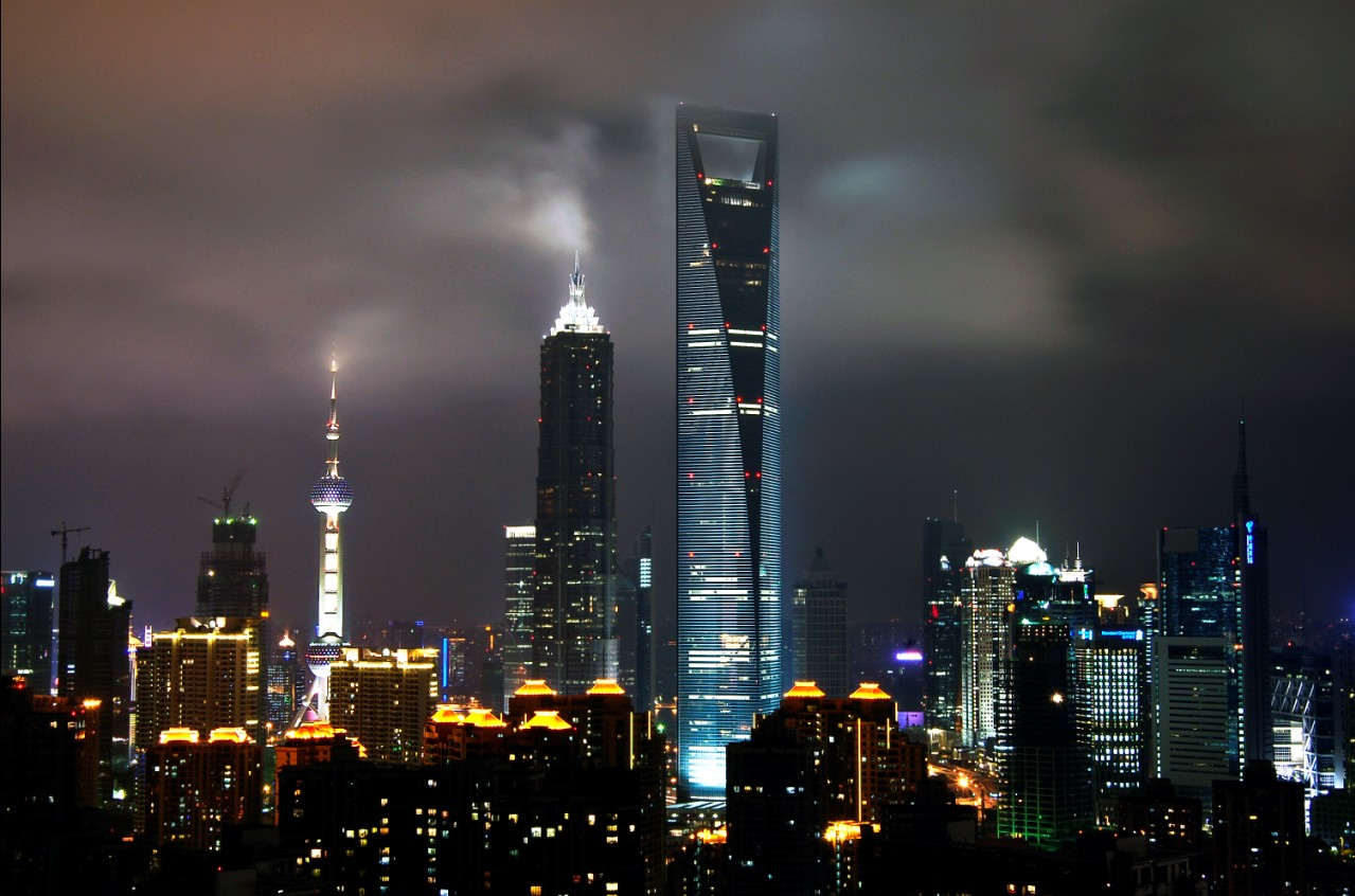 world financial center shanghai at night