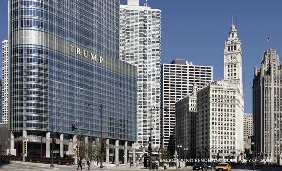 Trump Tower chicago as view from street