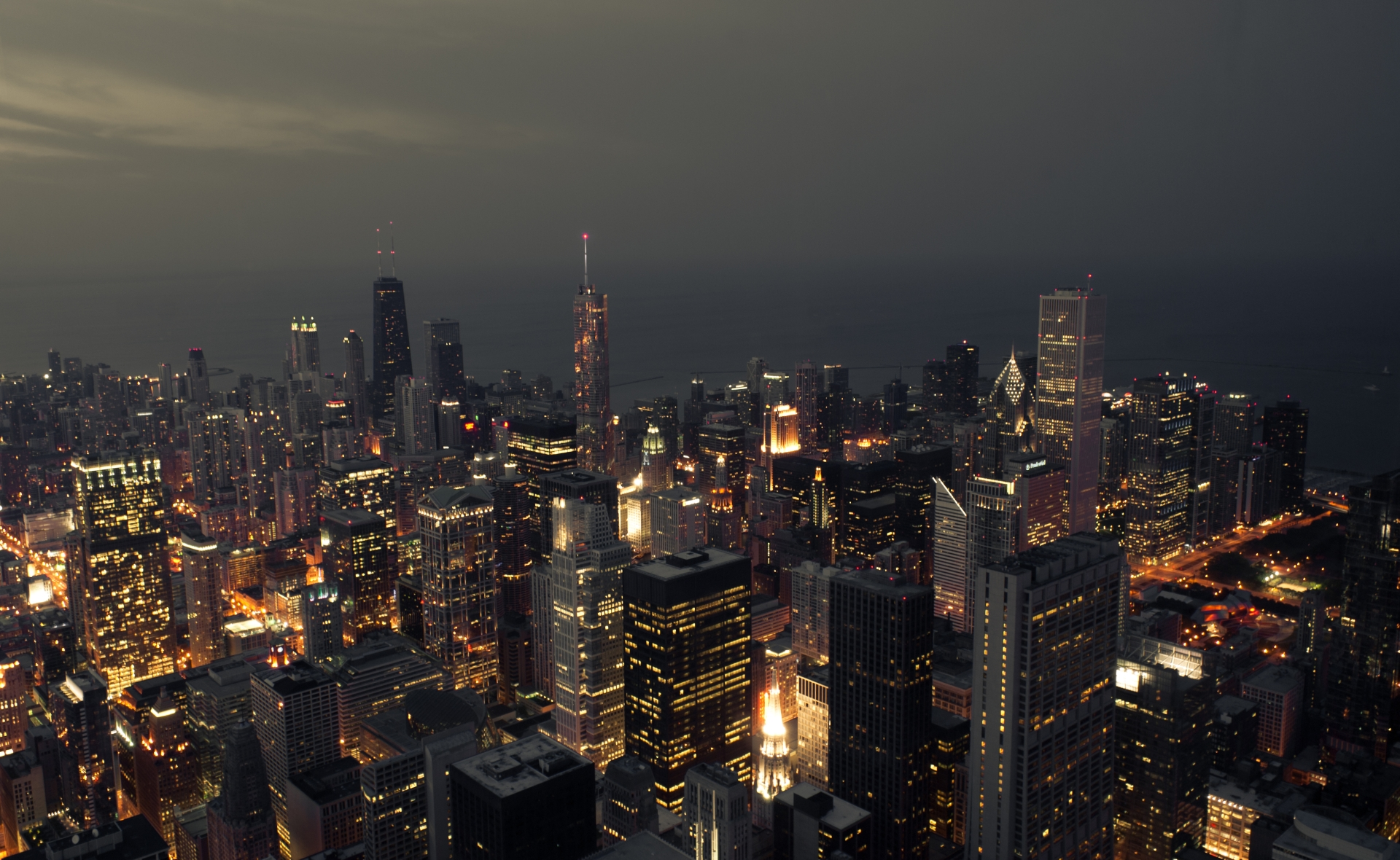 view from willis tower's skydeck at night