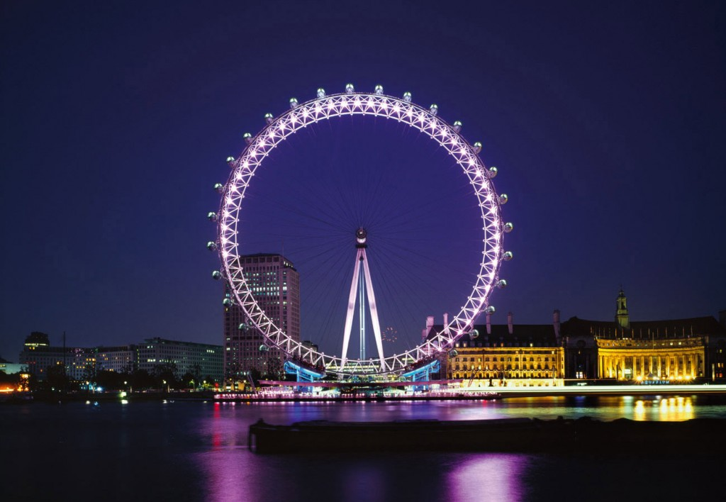 london eye with pink colour