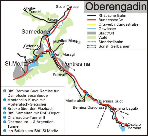 Bernina Express (Switzerland, Italy) map