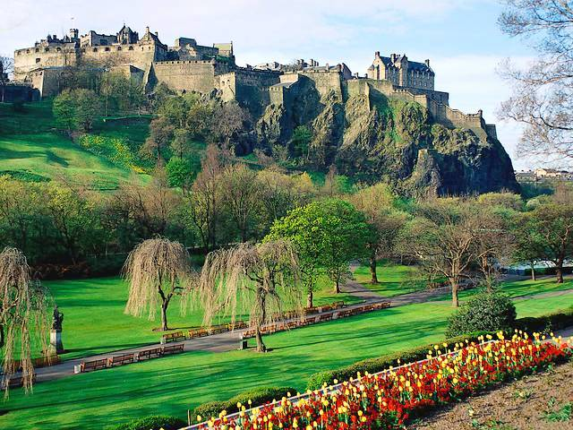 Edinburgh Castle Scotland view from Princes Street Gardens