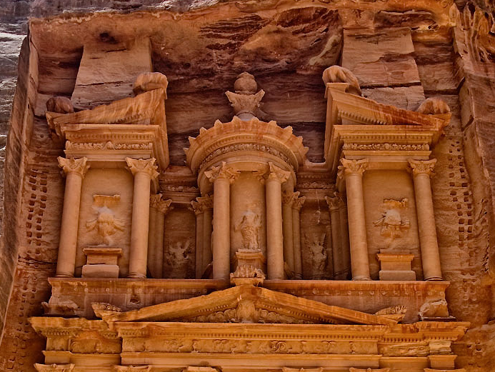 Petra temple in city