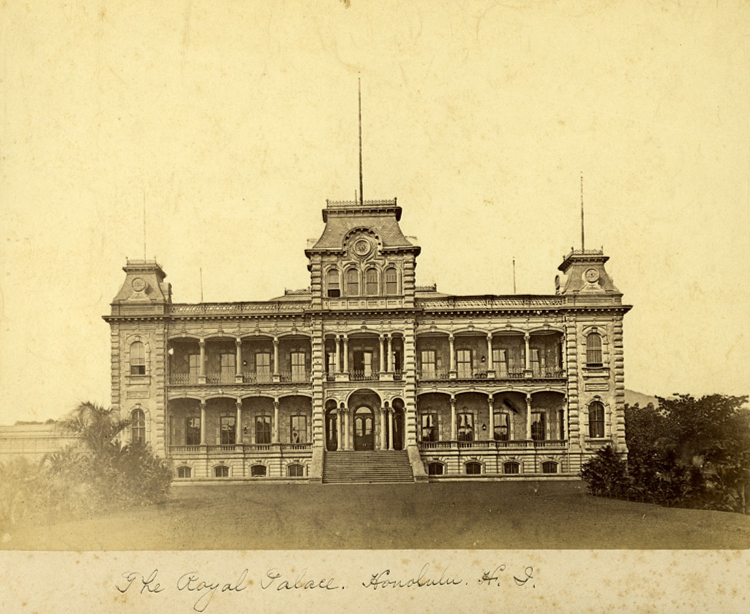 historic Picture of iolani palace in 1885