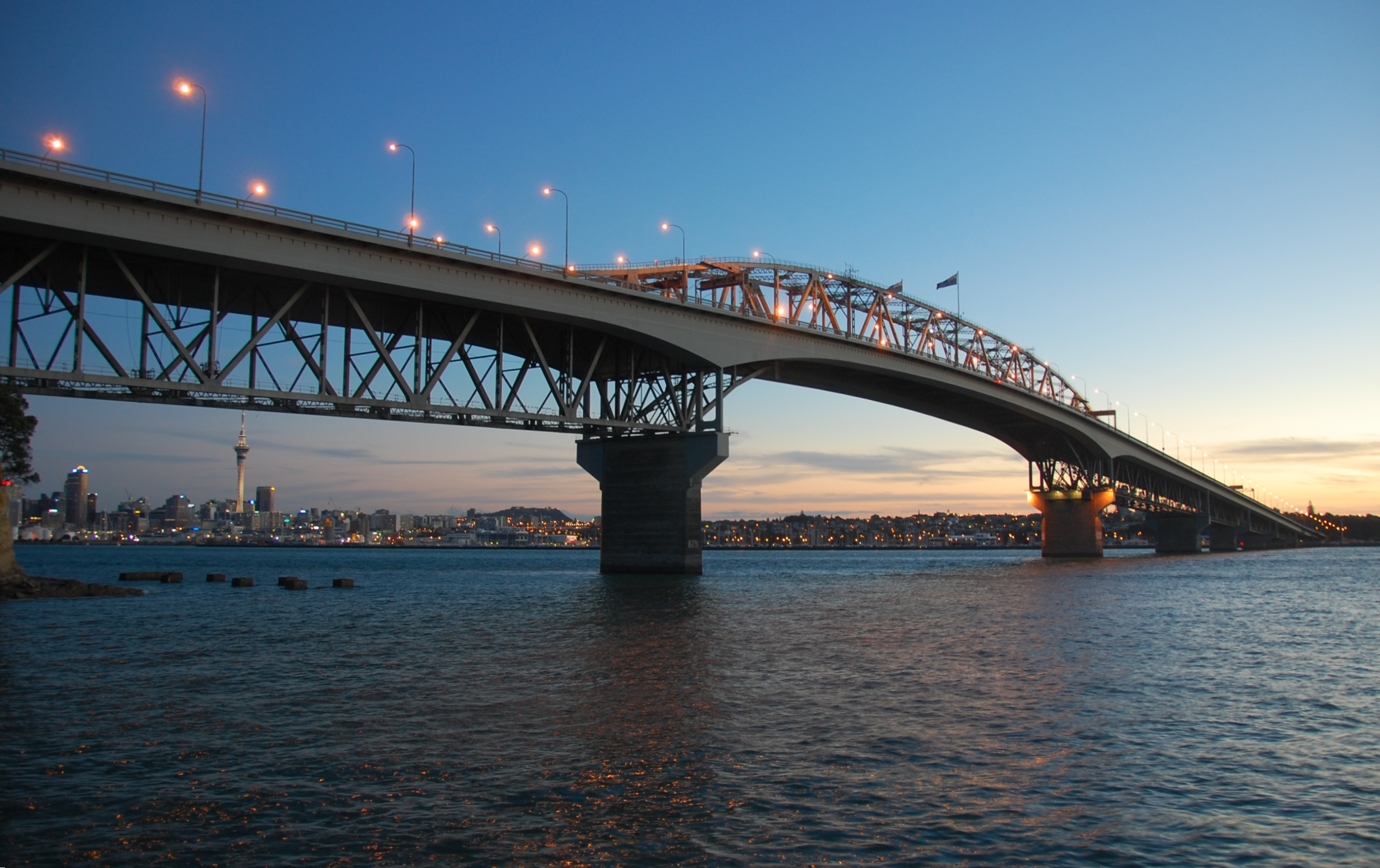 Auckland Harbour Bridge at sunset