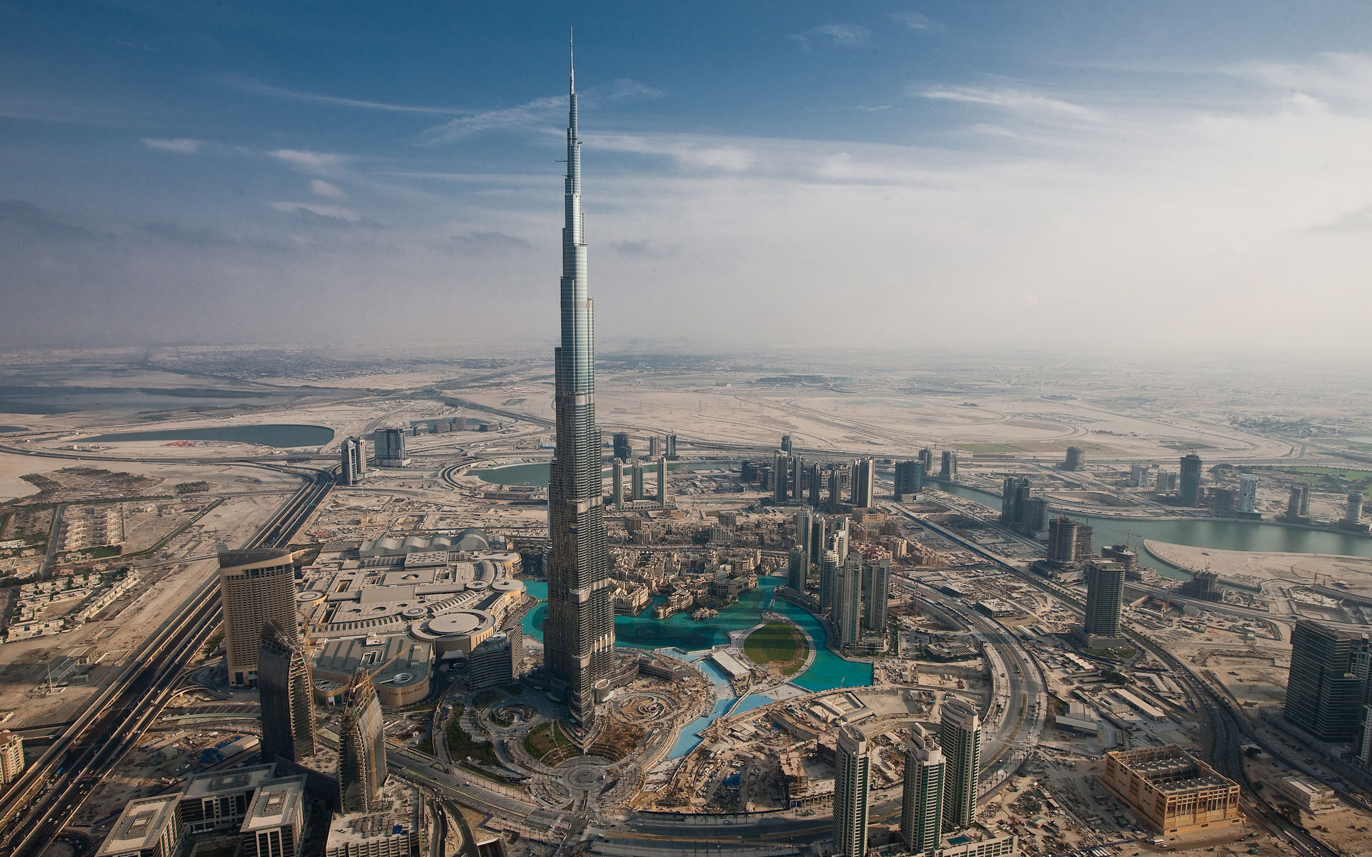 beautiful and aerial view of burj khalifa
