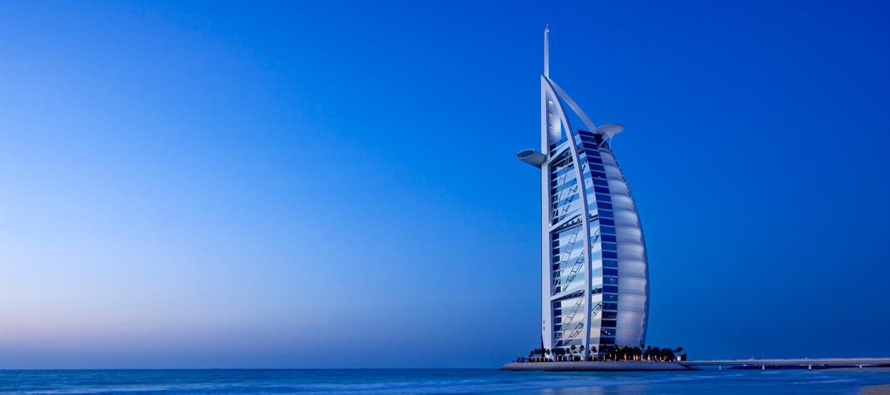 beautiful view of burj al arab from beach