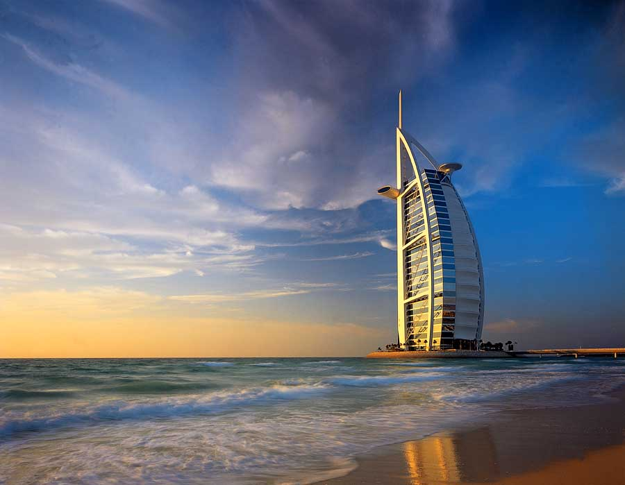 burj al arab hotel at sunset