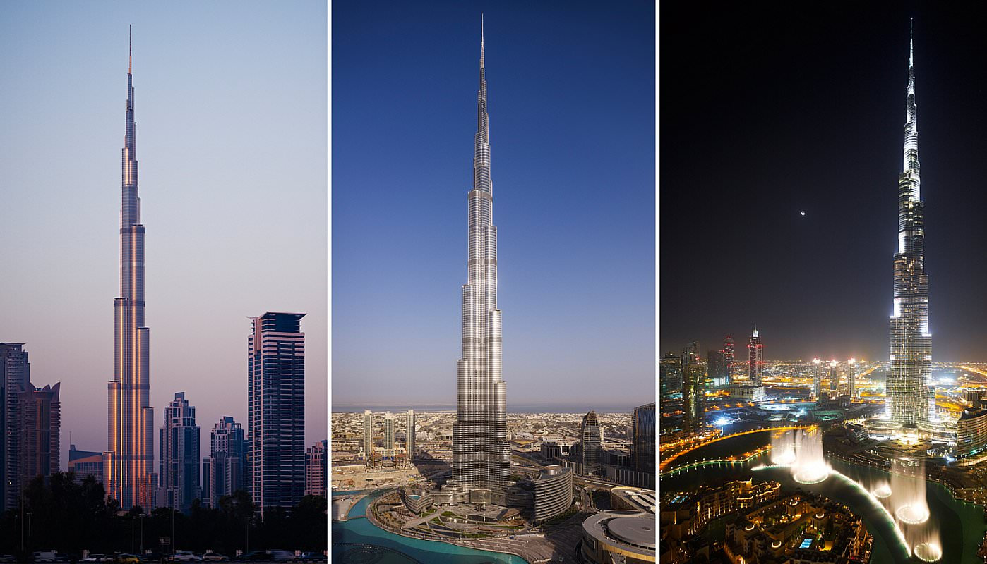 burj khalifa in dubai at Morning, afternoon and night