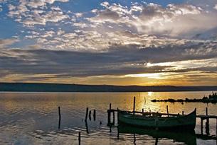 lake varna bulgaria at sunset