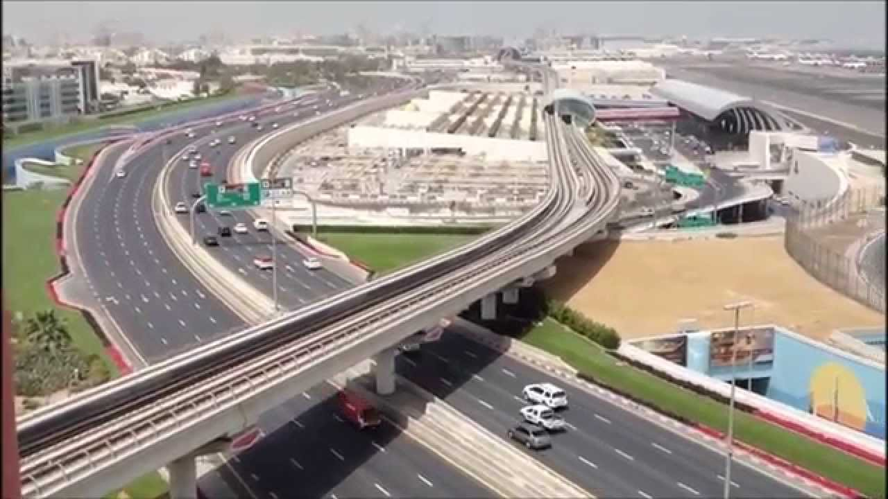 a road leading to dubai international airport