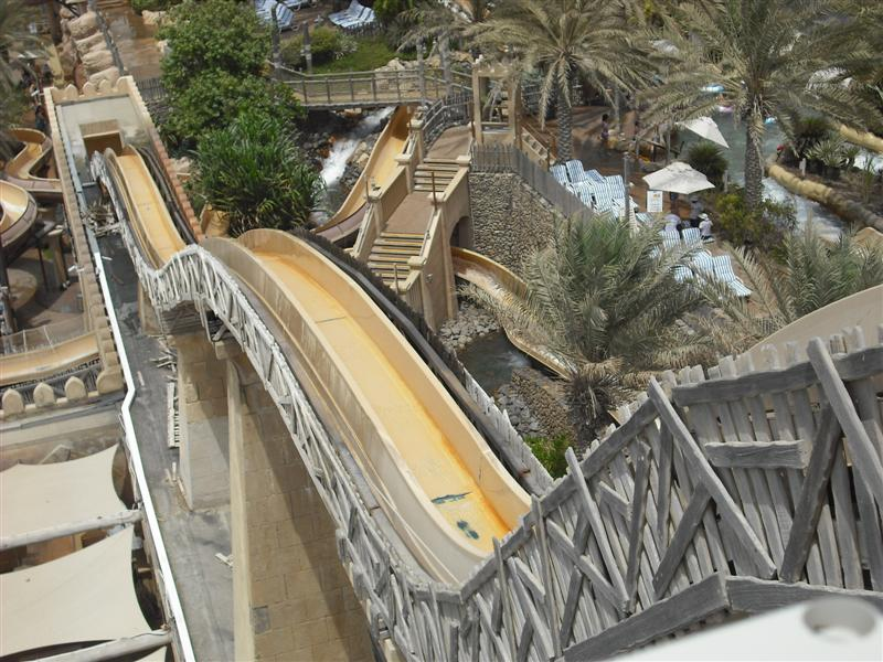 slides in wild wadi water park from upside