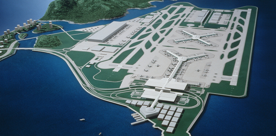ariel view of hong kong airport