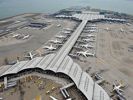 beautiful skyview of hong kong airport