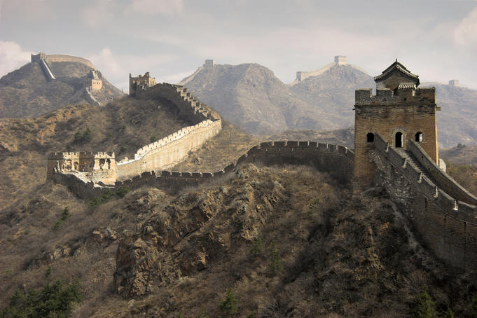 great wall of china side view