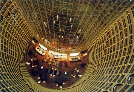 jin mao tower from inside at night