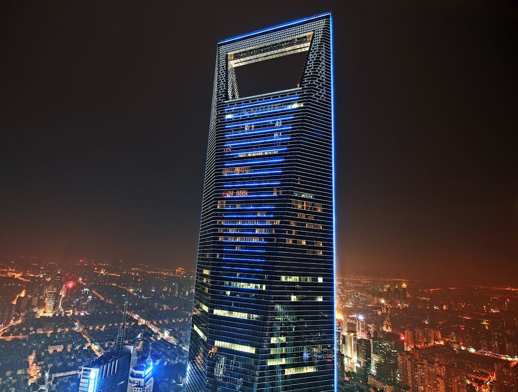 world financial center at night