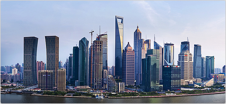 world financial center in shanghai skyline
