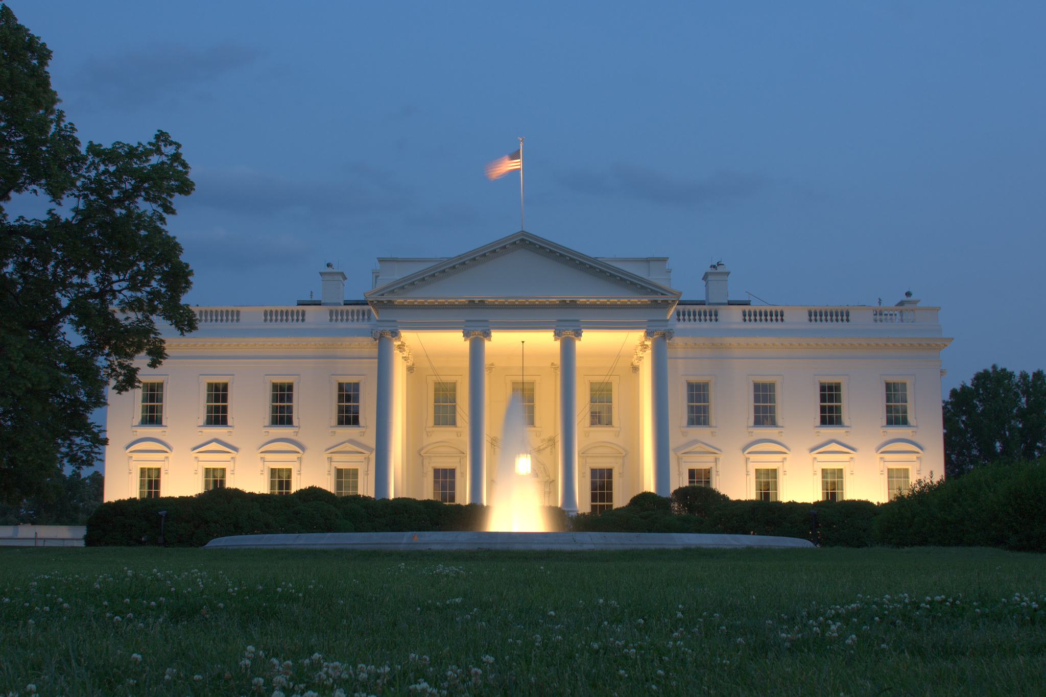 front of white house at night